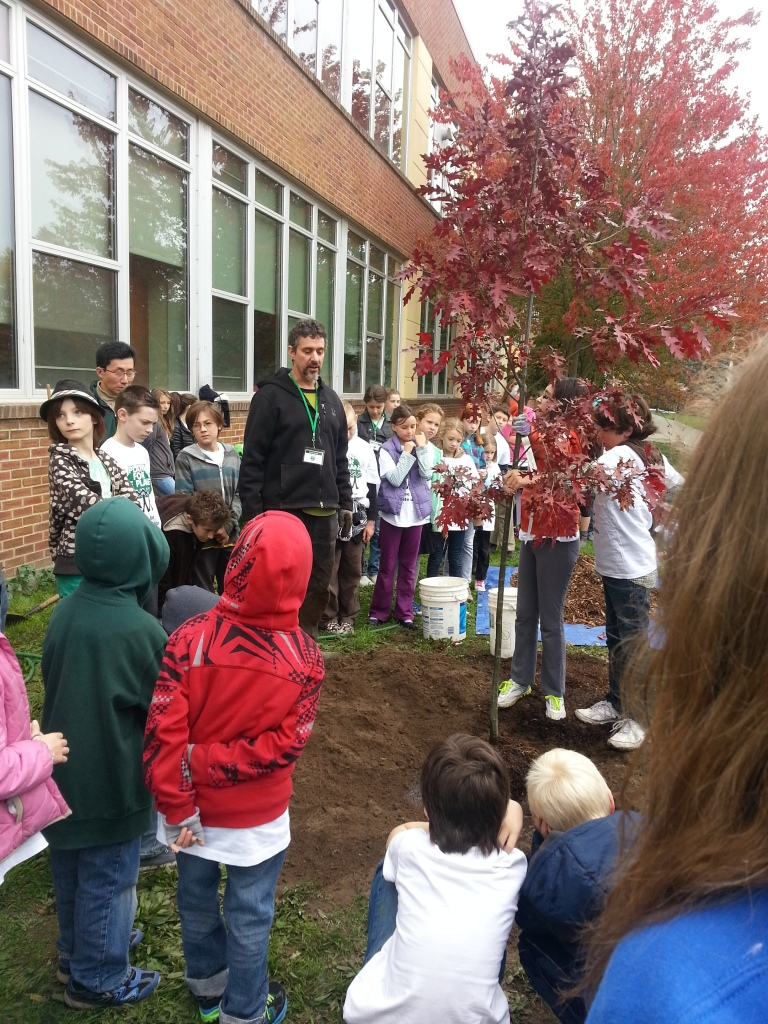 Lou tree-planting at JA