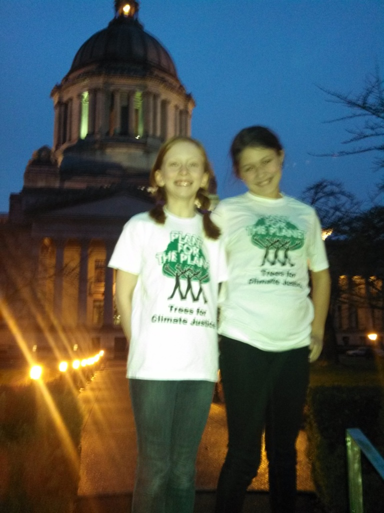 Wren and Zoe outside the Capitol in Olympia. These 2 ambassadors delivered powerful testimony and announced Washington's Billion Tree Campaign.